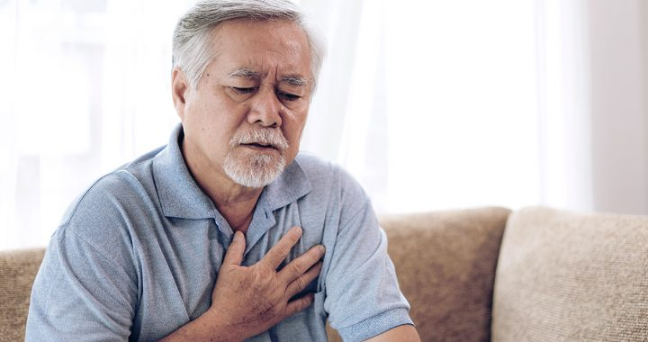 A man experiencing symptoms of a heart attack.