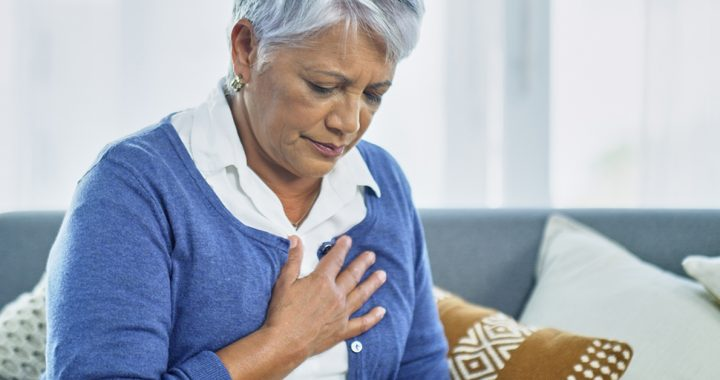 A woman experiencing some symptoms of heart failure.