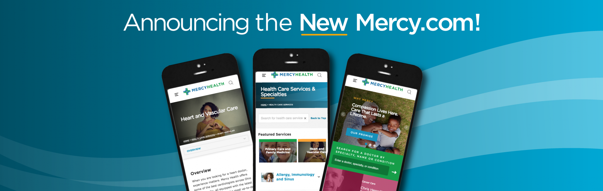 announcement of new mercy health website