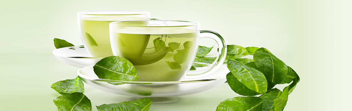 mug of green tea and leaves - natural remedies for anxiety and depression from mercy health