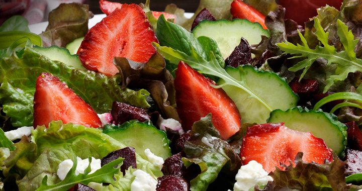strawberry arugula and feta salad _ in season summer foods