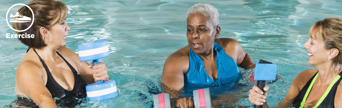 three women exercise with weights in a pool _ top exercises to do in the water