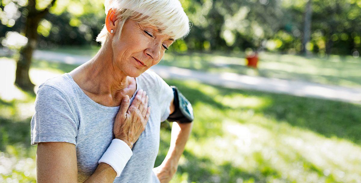A woman experiencing atrial fibrillation symptoms.