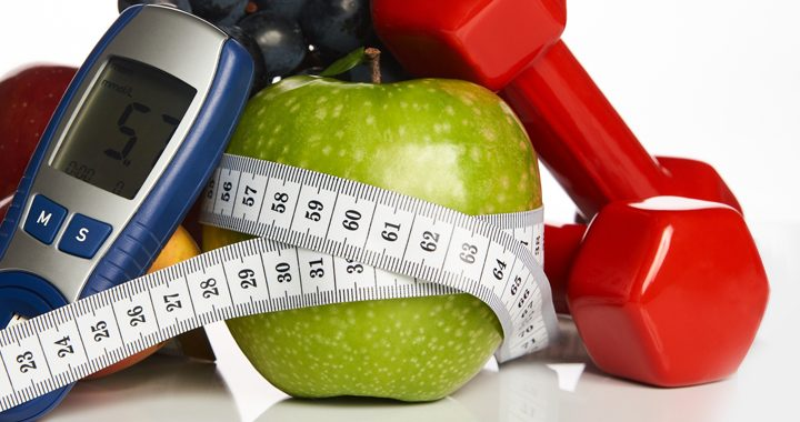 prediabetes related supplies including blood glucose meter, apple, tape measure, and hand weight