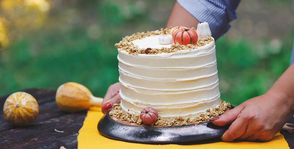 A pumpkin cake on a table