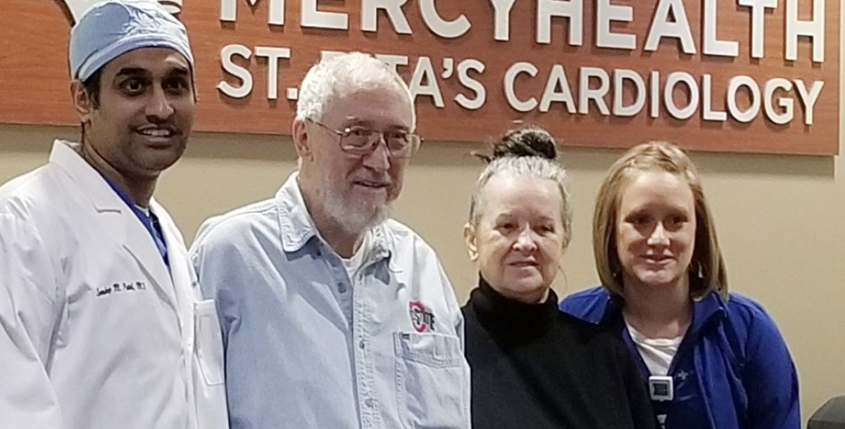 Russell McNeeley with his physician and staff members at Mercy Health - St. Rita's Medical Center.