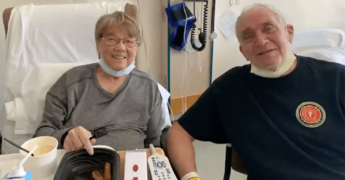 Bill and Esther in their hospital room in St. Rita's Medical Center.