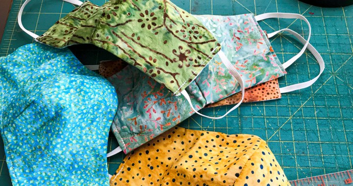 A pile of homemade cloth face coverings.