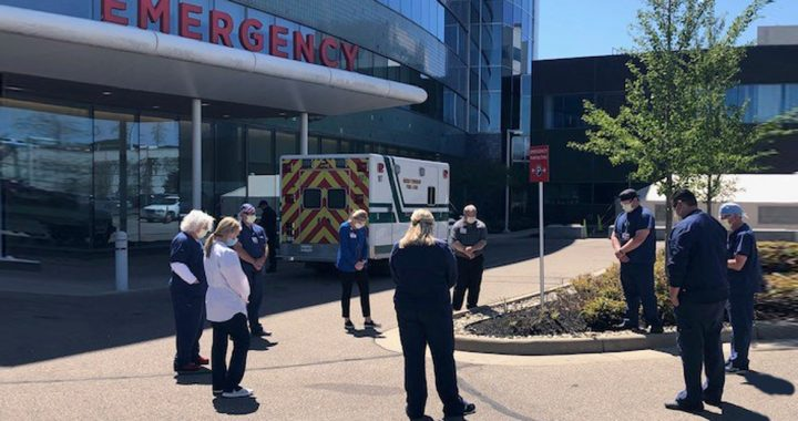 West Hospital workers gather for the 3-at-3 prayer service