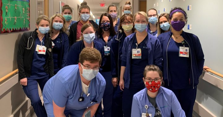 Group photo of Anderson Hospital nurses with masks on their unit during COVID-19