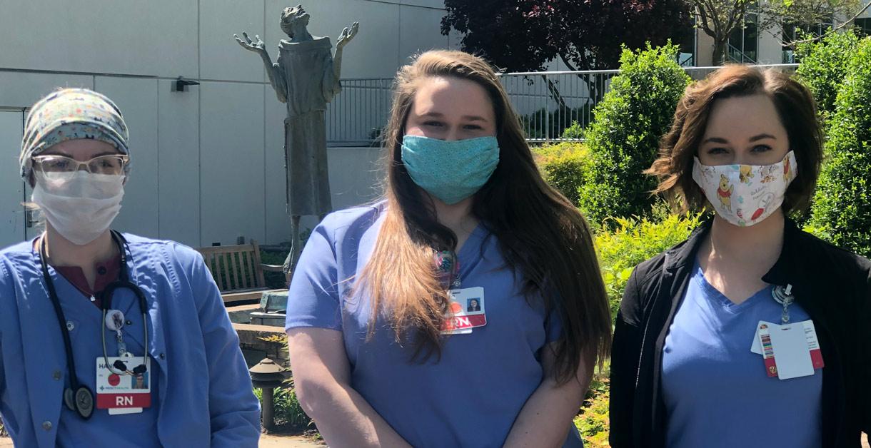 Lourdes hospital nurses Hannah Hoover,Ali Lampert and Katelyn Wuchte