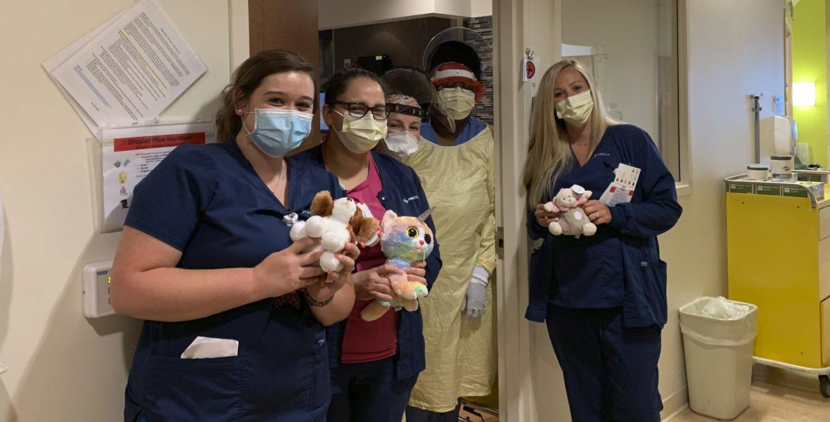 Fairfield Hospital nurses with some of their stuffed animals.
