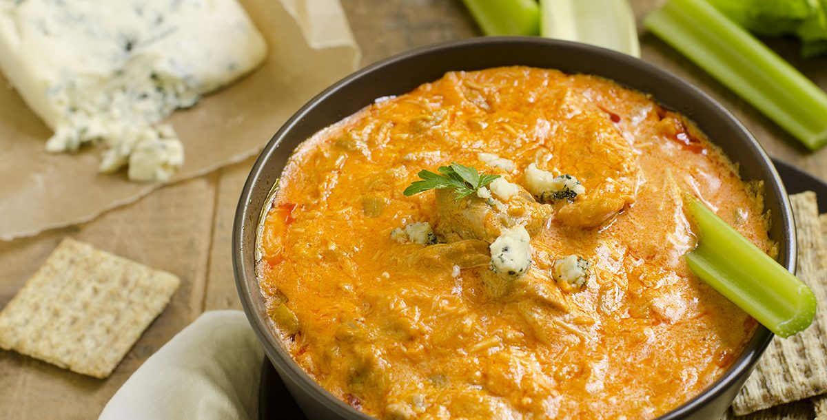 Buffalo chicken and cauliflower dip made in an Instant Pot.