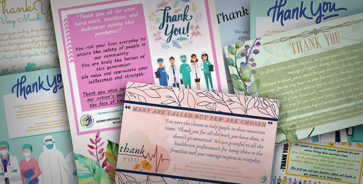 A collage of the thank you notes sent by interns to our Lourdes Hospital team members.