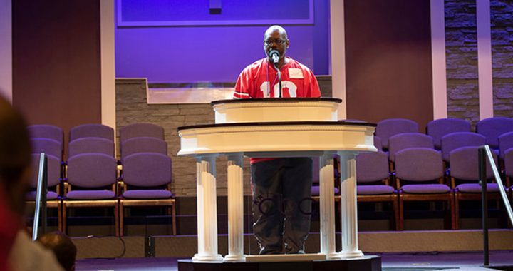 KZ Smith preaching at his church in Cincinnati.