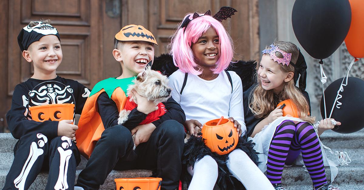 Kids celebrating Halloween together