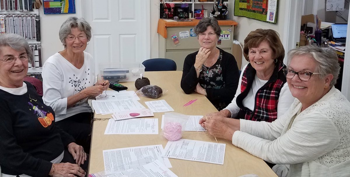 A group of Knitting Knockers volunteers.