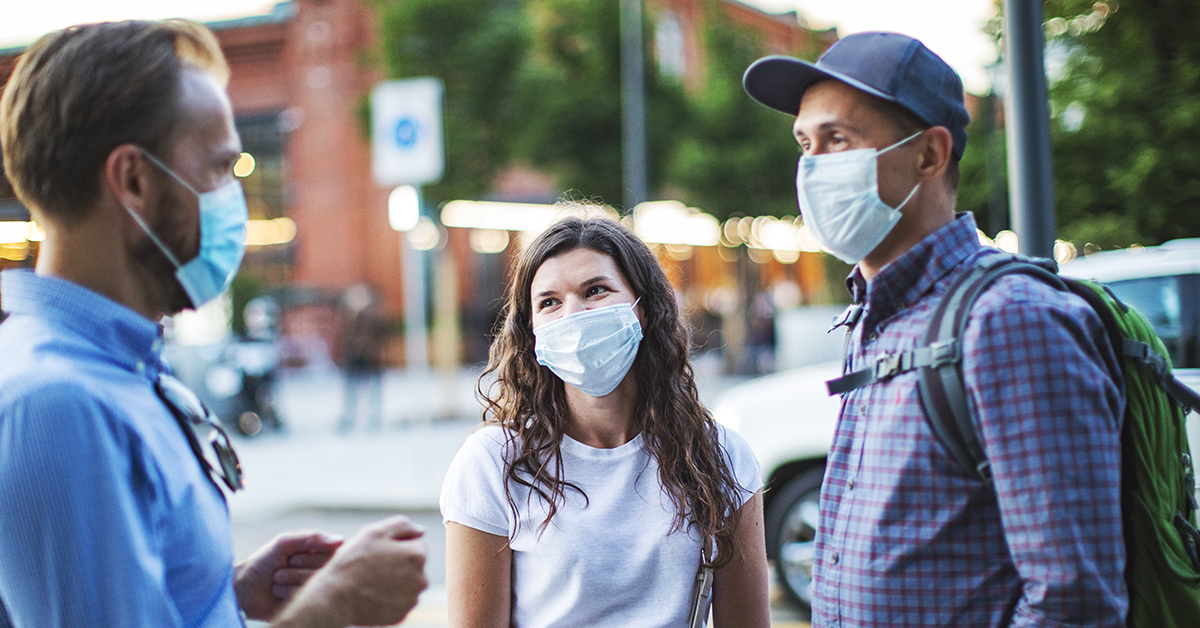 People wearing face masks while in public.
