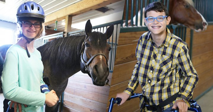 Ally and Oliver at their hippotherapy appointment.