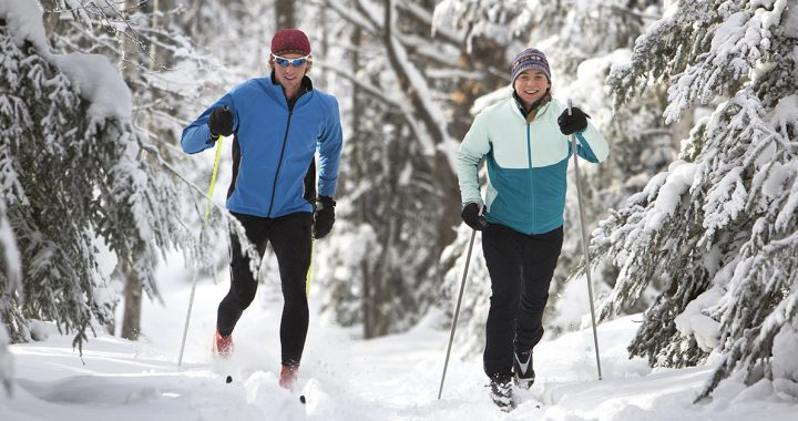 Two people cross country skiing.