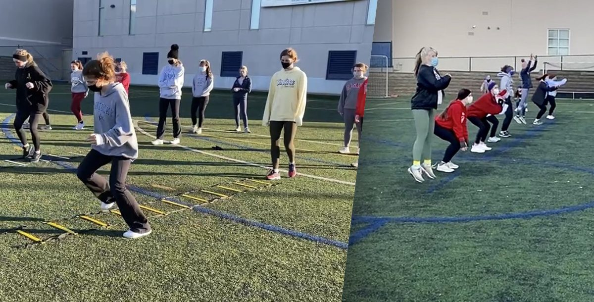 female student athletes participating in the Sportsmetrics program