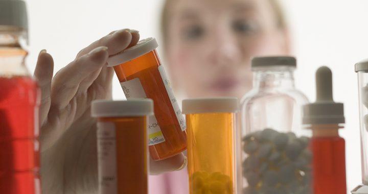 Prescription drugs in a medicine cabinet.