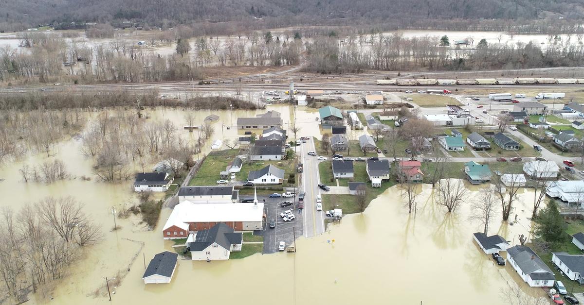 aerial footage of the irvine flood