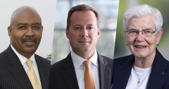 Samuel Ross, MD, John Starcher and Sr. Doris Gottemoeller, RSM