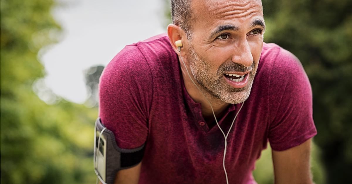 A man exercising.