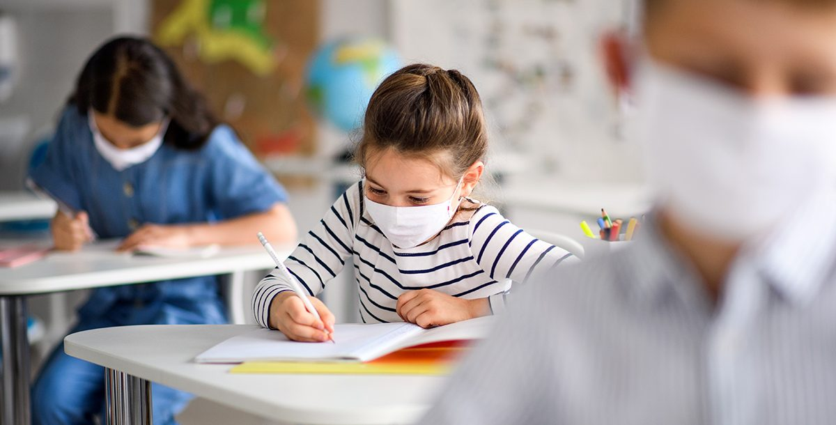 A child working at school.