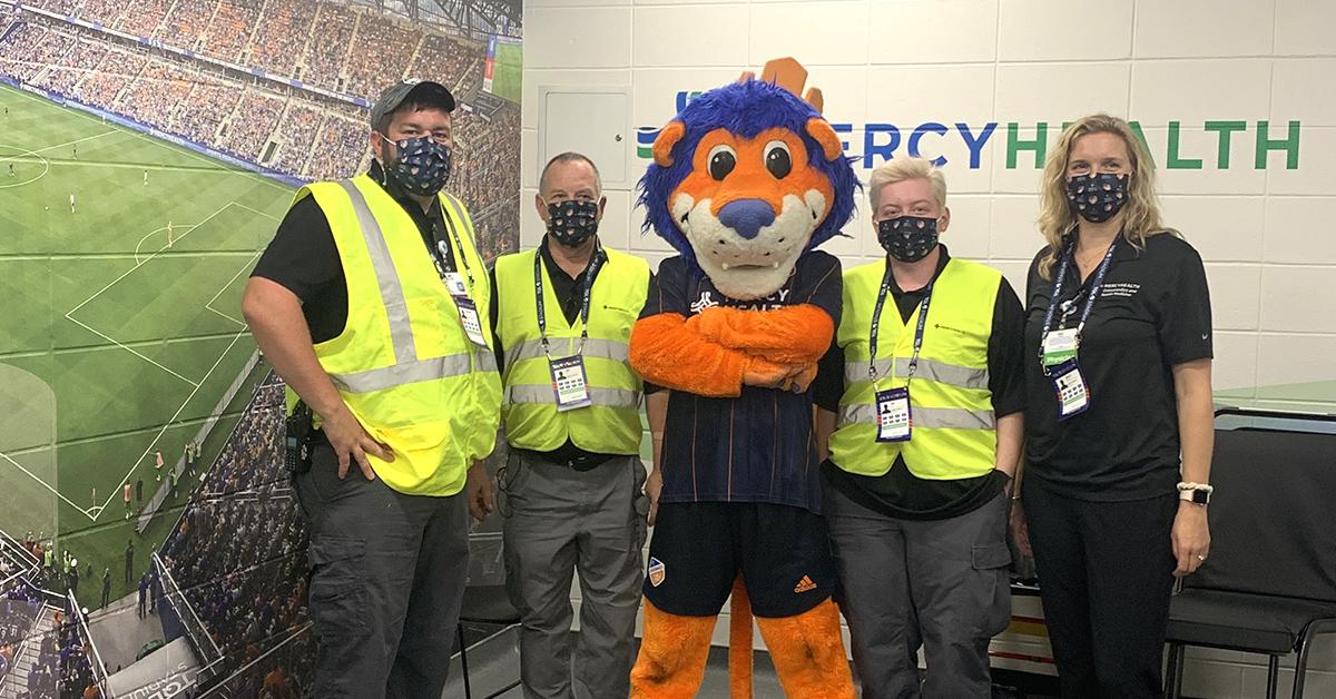 FC Cincinnati Mascot, Gary, with our first aid team.